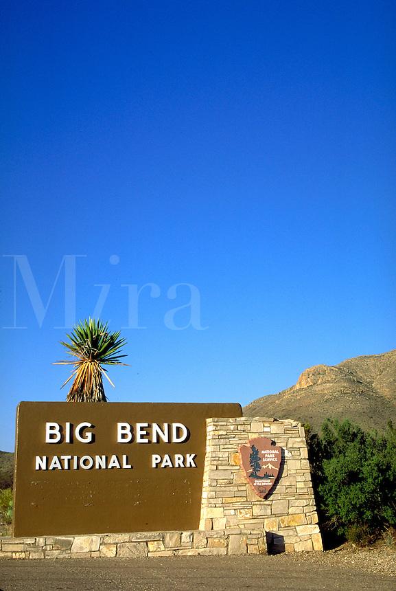 Entrance sign to National Park. Texas, Big Bend National Park.