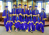 Valedictorians pose for a photo before the commencement exercise.  Front row (l-r) Isabelle Museck, Madeline Hoefflin, Rebecca Hunt, Jasmine Wolfgram, Therese Hinkley.  Back row (l-r) Grace Gjerde, Joseph Schmid,  Henry Bates, Emily Zlatniski, Caitlin Truffer, Elizabeth Thorne and Olivia Nystrom.