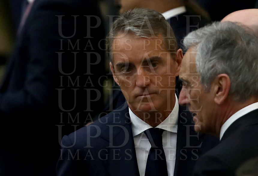 Italy's national team coach Roberto Mancini (l) speaks with Italian Football Federation (FIGC) President Gabriele Gravina (r)  before an audience with managers and members of the Federation (FIGC) and Gazzetta dello Sport newspaper, in Paul VI Hall at the Vatican, on May 24, 2019. in Paul VI Hall at the Vatican, on May 24, 2019.<br /> UPDATE IMAGES PRESS/Isabella Bonotto<br /> <br /> STRICTLY ONLY FOR EDITORIAL USE