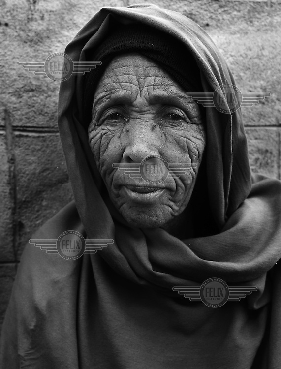 An elderly woman in Jijiga's UNHCR (United Nations High Commission for Refugees) resettlement screening centre. The number of people seeking refuge in Ethiopia has now passed 30,000. The three main camps - Kebribeyah, Awbarre and Sheder - house predominantly Somali refugees..