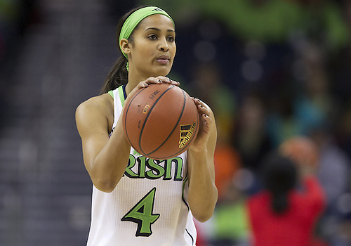 January 13, 2013:  Notre Dame guard Skylar Diggins (4) during NCAA Basketball game action between the Notre Dame Fighting Irish and the Rutgers Scarlett Knights at Purcell Pavilion at the Joyce Center in South Bend, Indiana.  Notre Dame defeated Rutgers 71-46.