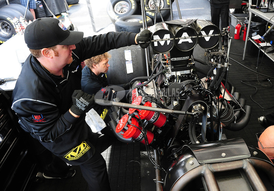 Feb. 12, 2012; Pomona, CA, USA; NHRA crew members for top fuel dragster driver Brandon Bernstein during the Winternationals at Auto Club Raceway at Pomona. Mandatory Credit: Mark J. Rebilas-