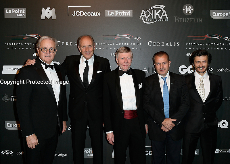 Remi DEPOIX avec des grands champions pilotes automobile - Hans STUCK - guest - Yannick DALMAS - Stephane ORTELLI - Soiree des grands prix du Festival Automobile International - 31 janvier 2017 - Paris - FRANCE