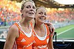 The Hague, Netherlands, June 12: (R) Kim Lammers #23 of The Netherlands celebrates after winning the field hockey semi-final match (Women) between The Netherlands and Argentina on June 12, 2014 during the World Cup 2014 at Kyocera Stadium in The Hague, Netherlands. Final score 4-0 (3-0)  (Photo by Dirk Markgraf / www.265-images.com) *** Local caption ***