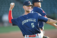 Outfielder Cole Brannen (5) of the Greenville Drive, No. 6 Red Sox prospect and 2nd Round draft pick, warms up during a preseason workout on Tuesday, April 3, 2018, at Fluor Field at the West End in Greenville, South Carolina. (Tom Priddy/Four Seam Images)