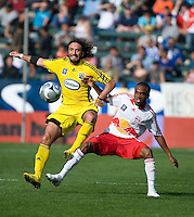 Gino Padula and Dane Richards battle for the ball during MLS Cup 2008. Columbus Crew defeated the New York Red Bulls, 3-1, Sunday, November 23, 2008. Photo by John Todd/isiphotos.com