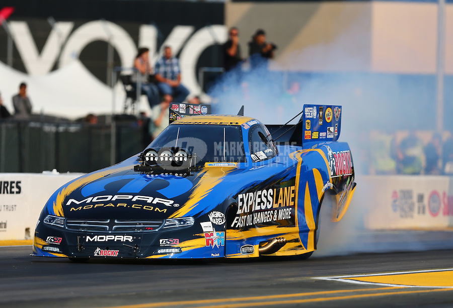 Jul 31, 2015; Sonoma, CA, USA; NHRA funny car driver Matt Hagan during qualifying for the Sonoma Nationals at Sonoma Raceway. Mandatory Credit: Mark J. Rebilas-