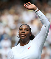 Serena Williams (USA) after her victory against Evgeniya Rodina (RUS) in their Ladies' Singles Fourth Round match<br /> <br /> Photographer Rob Newell/CameraSport<br /> <br /> Wimbledon Lawn Tennis Championships - Day 7 - Monday 9th July 2018 -  All England Lawn Tennis and Croquet Club - Wimbledon - London - England<br /> <br /> World Copyright &copy; 2017 CameraSport. All rights reserved. 43 Linden Ave. Countesthorpe. Leicester. England. LE8 5PG - Tel: +44 (0) 116 277 4147 - admin@camerasport.com - www.camerasport.com