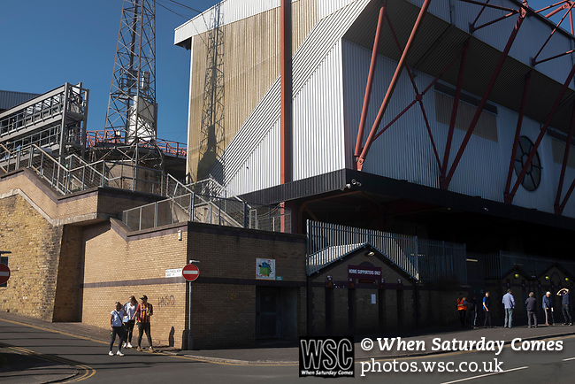 Bradford City 3, Carlisle United 1, 21/09/2019. Valley Parade, EFL League 2. Supporters gathering on Midland Road before Bradford City played Carlisle United in a Skybet League 2 fixture at Valley Parade. The home team were looking to bounce back after being relegated during a disastrous 2018-19 season on and off the pitch. Bradford won the match 3-1, watched by a crowd of 14, 217. Photo by Colin McPherson.