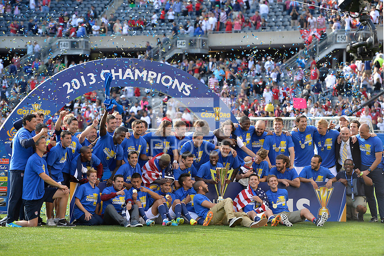 Chicago, IL - Sunday July 28, 2013:  USMNT celebrates with the Gold Cup Trophy after defeating Panama 1-0 during the CONCACAF Gold Cup Finals soccer match between the USMNT and Panama, at Soldier Field in Chicago, IL.