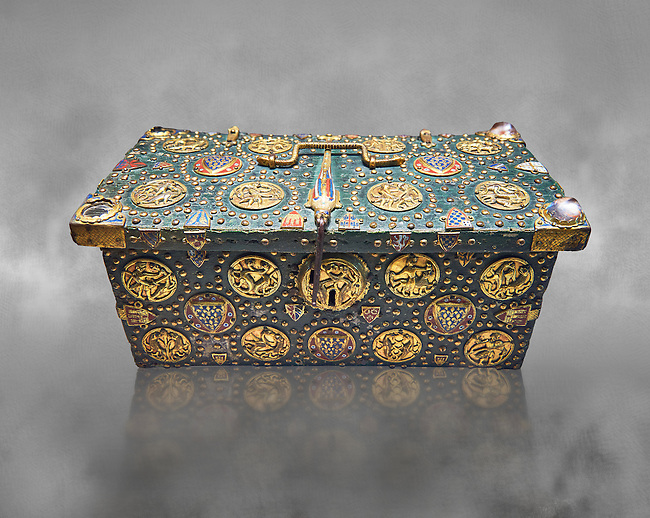 """Medieval case known as """"of Saint Louis"""",  made in Limoges around 1236. Given by Philip the Fair to the Abbey of Notre Dame du Lis with relics of Saint Louis inside., Paris. inv 253, The Louvre Museum, Paris."""
