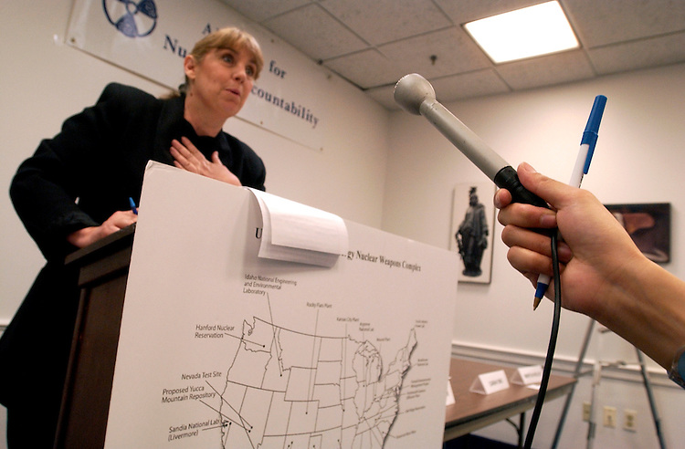 """Marylia Kelley, executive director of Tri-Valley CARES, speaks at a briefing by the Alliance for Nuclear Accountability (ANA) that launched their 18th annual DC Days by calling on members of Congress to reject """"blank check"""" spending increases for new nuclear weapons and polluting technologies."""