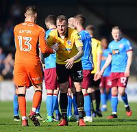 Bolton Wanderers' David Wheater shakes hands with Scunthorpe United's Joe Anyon at the final whistle<br /> <br /> Photographer Chris Vaughan/CameraSport<br /> <br /> The EFL Sky Bet League One - Scunthorpe United v Bolton Wanderers - Saturday 8th April 2017 - Glanford Park - Scunthorpe<br /> <br /> World Copyright &copy; 2017 CameraSport. All rights reserved. 43 Linden Ave. Countesthorpe. Leicester. England. LE8 5PG - Tel: +44 (0) 116 277 4147 - admin@camerasport.com - www.camerasport.com