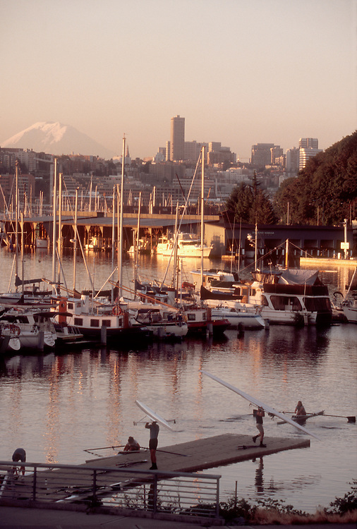 Seattle, Rowers launch on Seattle's Lake Union, Lake Washington Rowing Club, Mount Rainier, Pacific Northwest, Washington State, United States,.
