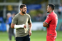 Taulupe Faletau of Bath Rugby and Jerome Kaino of Toulouse have a chat after the match. Heineken Champions Cup match, between Bath Rugby and Stade Toulousain on October 13, 2018 at the Recreation Ground in Bath, England. Photo by: Patrick Khachfe / Onside Images