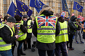 Pro-Brexit protesters wearing yellow jackets demonstrate outside the Houses of Parliament as MPs start five days of debate on the withdrawal agreement with the EU, Westminster, London.
