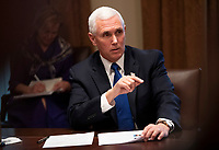 United States Vice President Mike Pence speaks to reporters as he and US President Donald J. Trump attend a meeting with nurses on the COVID-19 response at the White House in Washington, DC, March 18, 2020, in Washington, D.C.<br /> Credit: Kevin Dietsch / Pool via CNP/AdMedia