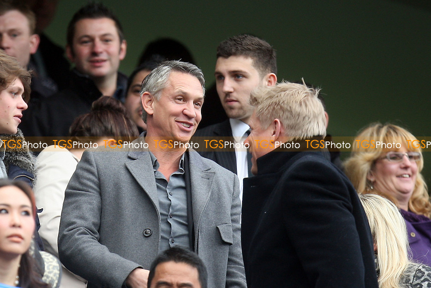 Gary Lineker shares a joke with Peter Schmiecal -  Chelsea vs Leicester City - at the Stamford Bridge Stadium - 18/03/12 - MANDATORY CREDIT: Dave Simpson/TGSPHOTO - Self billing applies where appropriate - 0845 094 6026 - contact@tgsphoto.co.uk - NO UNPAID USE.