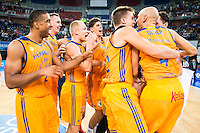 Herbalife Gran Canaria's players celebrating the victory during the final of Supercopa of Liga Endesa Madrid. September 24, Spain. 2016. (ALTERPHOTOS/BorjaB.Hojas) NORTEPHOTO.COM