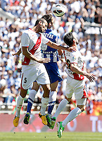Rayo Vallecano's Alejandro Galvez (l) and Javi Fuego (r) and Real Sociedad's Imanol Agirretxe during La Liga match.April 14,2013. (ALTERPHOTOS/Acero)