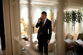 United States President Barack Obama talks on the phone in his suite at the Grand Hyatt Hotel in Seoul, South Korea, November 11, 2010. .Mandatory Credit: Pete Souza - White House via CNP