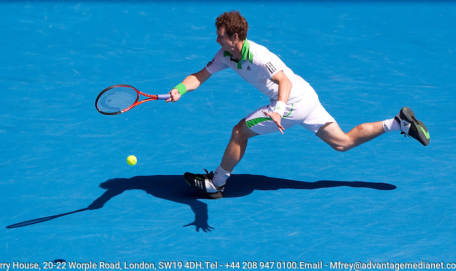 Andy Murray (GBR) (5) against Juergen Melzer (AUT) (11) in the 4th round of the men's singles. Andy Murray beat Juergen Melzer 6-3 6-1 6-1..International Tennis - Australian Open  -  Melbourne Park - Melbourne - Day 8 - Mon 24th January 2011..© Frey - AMN Images, Level 1, Barry House, 20-22 Worple Road, London, SW19 4DH.Tel - +44 208 947 0100.Email - Mfrey@advantagemedianet.com.Web - www.amnimages.photshelter.com
