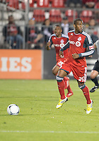 12 September 2012: Toronto FC defender Jeremy Hall #25 in action during an MLS game between the Chicago Fire and Toronto FC at BMO Field in Toronto, Ontario..The Chicago Fire won 2-1..