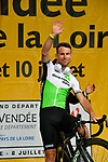 Mark Cavendish (GBR) Team Dimension Data arrives on stage at the Team Presentations for the 105th Tour de France 2018 held on Napoleon Square in La Roche-sur-Yon, France. 5th July 2018. <br /> Picture: ASO/Bruno Bade | Cyclefile<br /> All photos usage must carry mandatory copyright credit (&copy; Cyclefile | ASO/Bruno Bade)