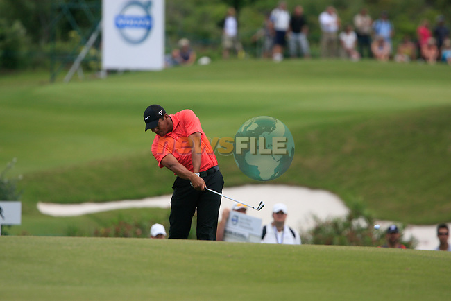 Jhonattan Vegas (VEN) plays his 2nd shot on the 3rd hole during the afternoon session on Day 2 of the Volvo World Match Play Championship in Finca Cortesin, Casares, Spain, 20th May 2011. (Photo Eoin Clarke/Golffile 2011)