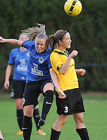 20161029 - ZWEVEZELE , BELGIUM : Zwevezele's Iris Claeys (R)) and Club Brugge's Elle Decorte (L)  pictured during a soccer match between the women teams of KSK Zwevezele and Club Brugge  , during the seventh matchday in the 2016-2017  Tweede klasse - Second Division season, Saturday 29 October 2016 . PHOTO SPORTPIX.BE | DIRK VUYLSTEKE