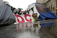 December 7, 2011  (Washington, DC)   OccupyDC protesters erected several tents in the middle of busy K street in downtown Washington.  K Street is seen by the protesters as the center corporate greed in the city.  (Photo by Don Baxter/Media Images International)