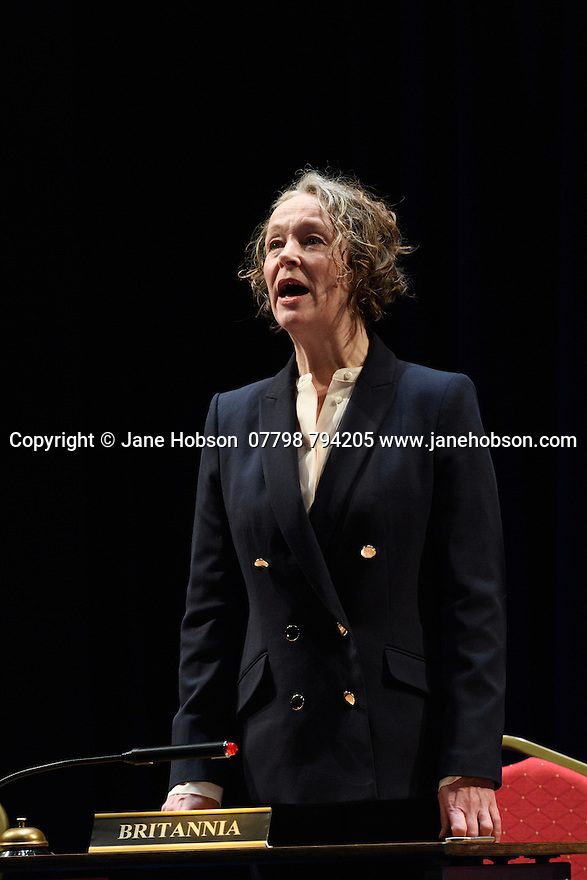 "London, UK. 02.03.2017. The National Theatre presents ""My Country; a work in progress"", in the words of people across the UK and Carol Ann Duffy, in the Dorfman. Rufus Norris directs. Design is by Katrina Lindsay, lighting design by Paul Knott. Picture shows:  Penny Layden. Photograph © Jane Hobson."