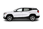 Car driver side profile view of a 2018 GMC Terrain SLE FWD 5 Door SUV