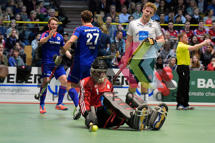 GER - Luebeck, Germany, February 06: During the 1. Bundesliga Herren indoor hockey semi final match at the Final 4 between Uhlenhorst Muelheim (white) and Mannheimer HC (blue) on February 6, 2016 at Hansehalle Luebeck in Luebeck, Germany.  Final score 2-3 (HT 7-5).  Maximilian Neumann #24 of Mannheimer HC, Timm Haase #27 of Mannheimer HC, Lennart Kueppers (TW) #1 of HTC Uhlenhorst Muehlheim<br /> <br /> Foto &copy; PIX-Sportfotos *** Foto ist honorarpflichtig! *** Auf Anfrage in hoeherer Qualitaet/Aufloesung. Belegexemplar erbeten. Veroeffentlichung ausschliesslich fuer journalistisch-publizistische Zwecke. For editorial use only.
