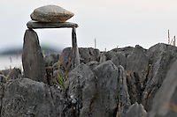 Potts Point South Harpswell Maine. Spontaneous Rock Sculpture Folk Art, Stack and Balance, as found on the Point in August 2009. Also known as Cairn Sculpture.
