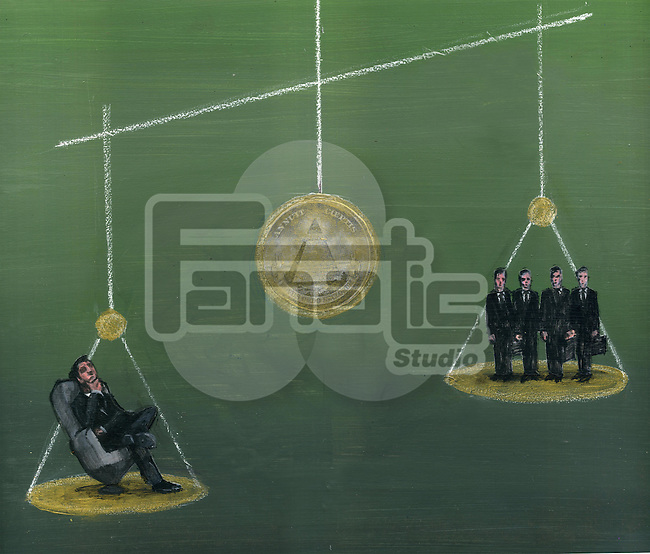 Judgment of business men on weighing scale