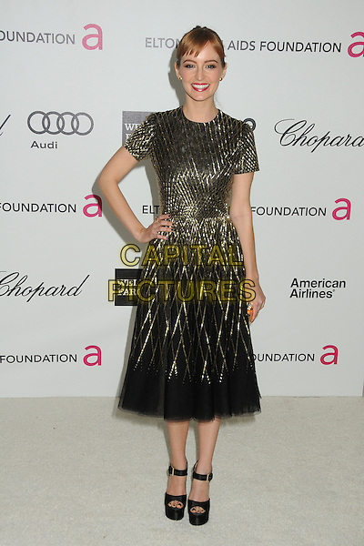 Ahna O'Reilly.20th Annual Elton John Academy Awards Viewing Party held at West Hollywood Park, West Hollywood, California, USA..February 26th, 2012.full length dress hand on hip black gold  oscars.CAP/ADM/BP.©Byron Purvis/AdMedia/Capital Pictures.