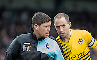 Mark McChrystal of Bristol Rovers talks with Darrell Clarke manager of Bristol Rovers during the Sky Bet League 2 match between Wycombe Wanderers and Bristol Rovers at Adams Park, High Wycombe, England on 27 February 2016. Photo by Andrew Rowland.