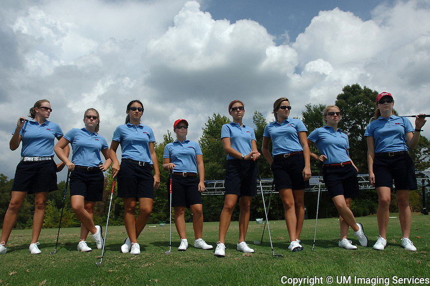 Photo by Kevin Bain.  Women's golf team shots, group and individual, for Sports Information