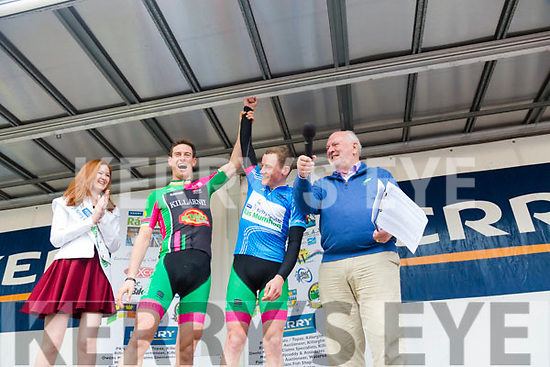 At The Ras Mumhan Cycle Race in Killorglin on Monday with winner Matteo Ciagala were, Abigail Gallagher Richard Maes, Conor Kissane Killarney  Paudie Fitzgerald