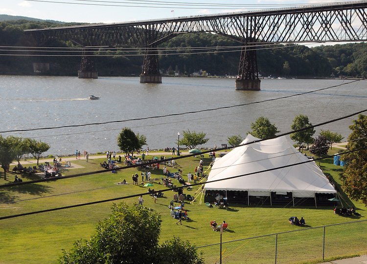Overview of the grounds at the 2014 Jazz in the Valley Festival held in Waryas Park on the Hudson River front in Poughkeepsie, NY on Sunday August 17, 2014. Photo by Jim Peppler. Copyright Jim Peppler 2014 all rights reserved.