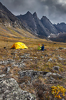 Backpackers enjoy a campsite on the autumn tundra with a view of East and West Maiden and Camel peaks in the distance, Arrigetch Peaks, Gates of the Arctic National Park, Alaska.