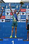 06.07.2019,  Innenstadt, Hamburg, GER, Hamburg Wasser World Triathlon, Elite Mainner, im Bild Sieger Jacob Birtwhistle (AUS) jubelt bei der Siegerehrung  Foto © nordphoto / Witke *** Local Caption ***