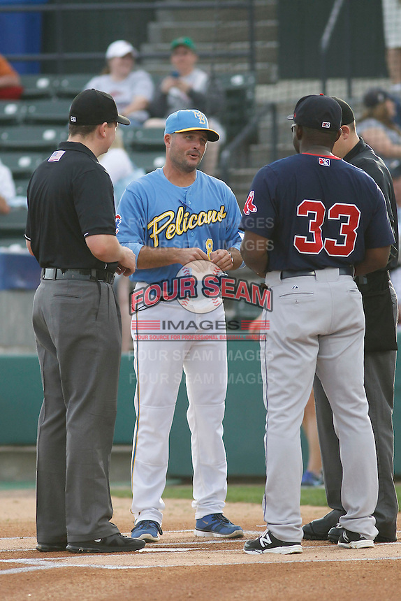 Myrtle Beach Pelicans manager Mark Johnson (8) before a game against the Salem Red Sox at Ticketreturn.com Field at Pelicans Ballpark on May 5, 2015 in Myrtle Beach, South Carolina.  Myrtle Beach defeated Winston-Salem  6-0. (Robert Gurganus/Four Seam Images)