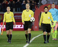 20161124 - LEUVEN ,  BELGIUM : referee Bibiana Steinhaus (M) and assistant referees Katrin Rafalski (R)  Imke Lohmeyer (L)  pictured during the female soccer game between the Belgian Red Flames and The Netherlands , a friendly game before the European Championship in The Netherlands 2017  , Thursday 24 th November 2016 at Stadion Den Dreef  in Leuven , Belgium. PHOTO SPORTPIX.BE | DIRK VUYLSTEKE