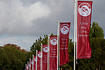 October 06, 2019, Paris (France) - Flags at the Qatar Prix de l'Arc de Triomphe meeting on October 6 in ParisLongchamp. [Copyright (c) Sandra Scherning/Eclipse Sportswire)]