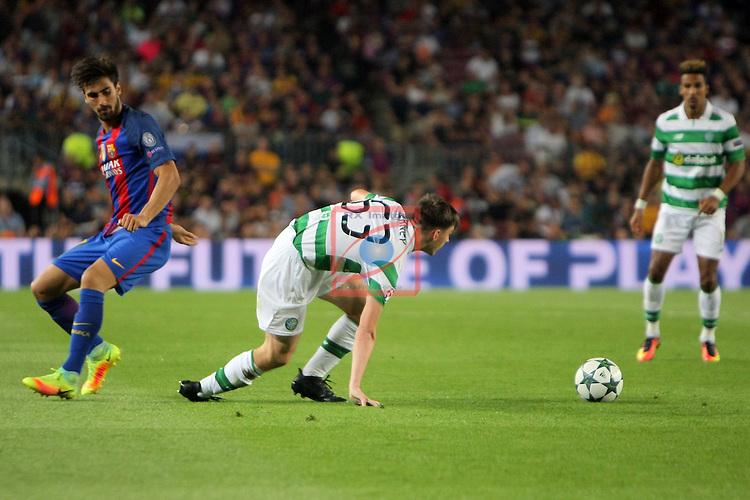 UEFA Champions League 2016/2017 - Matchday 1.<br /> FC Barcelona vs Celtic FC: 7-0.<br /> Andre Gomes vs Kieran Tierney.