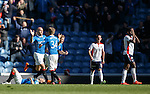 Nicky Law celebrates scoring to rescue a point for Rangers as Falkirk miss out on a playoff place