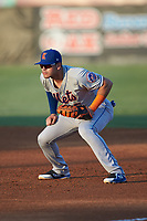 Kingsport Mets first baseman Kenny Hernandez (5) on defense against the Burlington Royals at Burlington Athletic Stadium on July 27, 2018 in Burlington, North Carolina. The Mets defeated the Royals 8-0.  (Brian Westerholt/Four Seam Images)