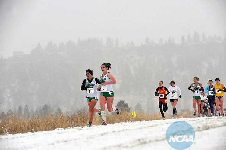 19 NOV 2011:  Melissa Roberts (10) and Jesse Brunett (3) of Adams State race toward the finish line during the Division II Women's Cross Country Championship held at the Plantes Ferry Athletic Complex in Spokane, WA.  Roberts finished in 50th place with a time of 22:55.0 while Brunett finished in 55th place with a time of 23:03.4. Brian Plonka/ NCAA Photos